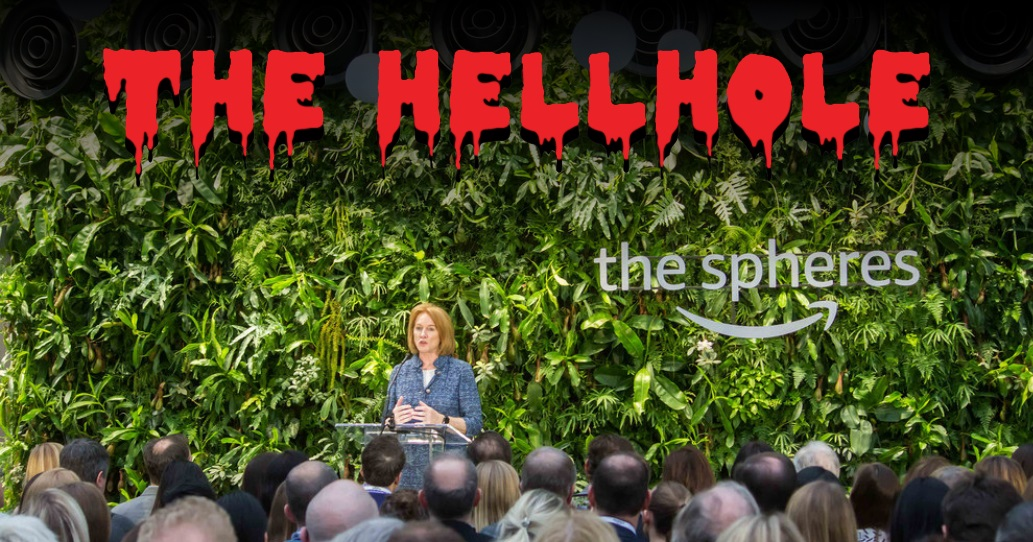Jenny Durkan speaking at the opening of the Spheres
