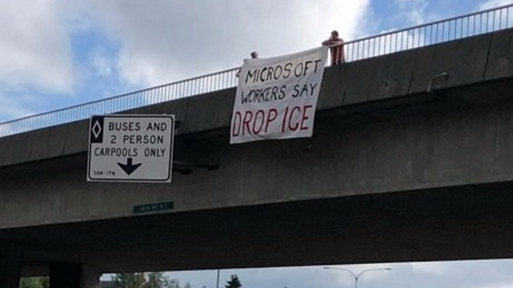 "Banner saying ""Microsoft workers say drop ICE"""