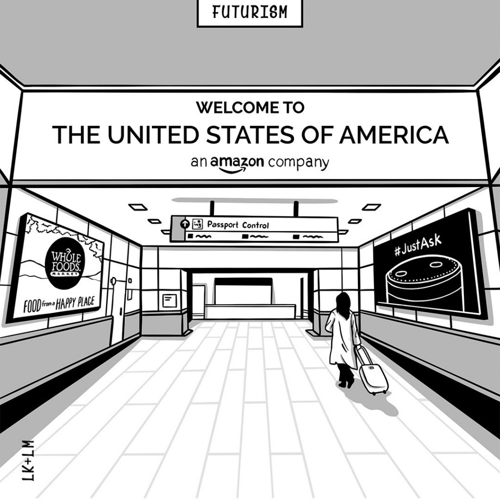 """Person at airport seeing sign welcoming them to American - which it turns out is an Amazon.com company"""