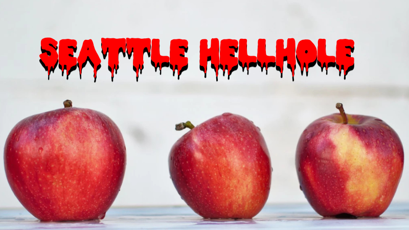 "Apple in a row with the words ""Seattle Hellhole"" over top."