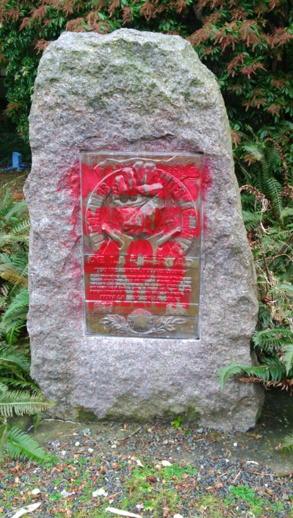 Defaced monument to Spanish Civil War veterans who fought against Franco's dictatorship.