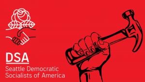 Central Seattle Workplace Organizing Collective / El Grupo para Organizar su Lugar de Trabajo: Seattle Central logo featuring fist raising a hammer.