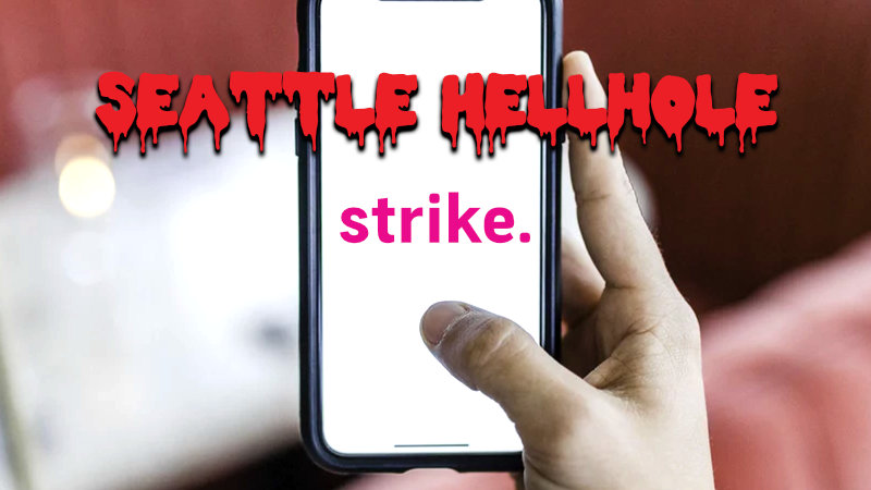 """The Hellhole - Week of 5/6/2019 banner image. Seattle Hellhole and an app mocking lyft with the word """"strike"""" on someone's phone in a cafe."""