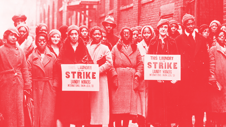 Picketing laundry workers, mostly African American women, of Laundry Workers International Union, Local 135