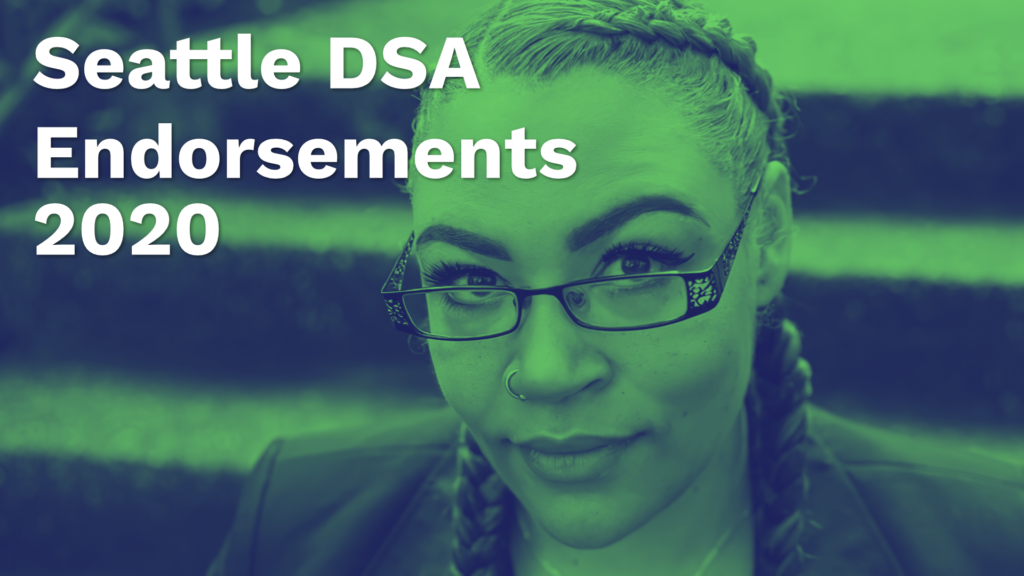 Close-up photo of Sherae Lascelles, color gradient map with green highlights and deep blue shadows, who is running against Frank Chop. White text is overtop with the words Seattle DSA Endorsements 2020