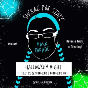 Reverse trick-or-treet and get out the vote, halloween at 3pm at woodland park